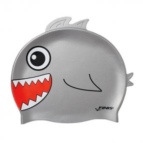 Gorra natación niños silicona tiburón color gris