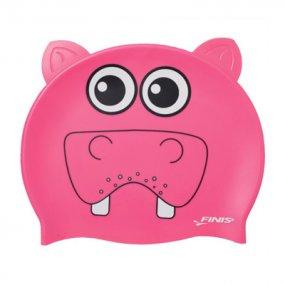 Gorra natación niños silicona hipopótamo color rosa OY