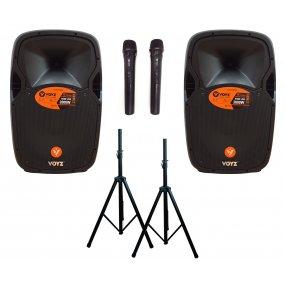 """Combo parlantes potenciados Bluetooth 15"""" 2000W + micrófonos + tripodes"""