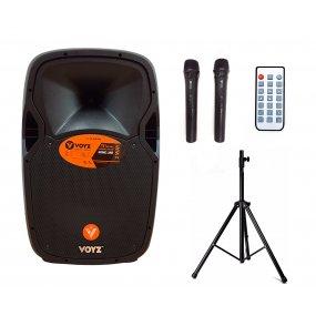 "Parlante potenciado Bluetooth batería 15"" 750W + micrófonos + tripode"